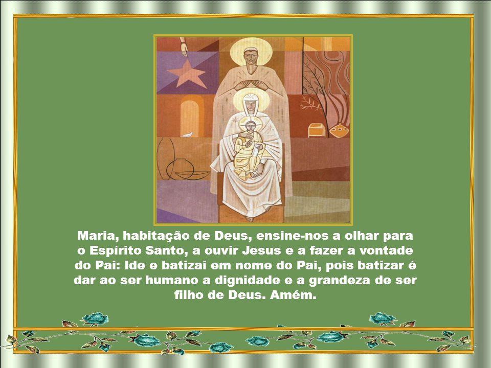 Maria, habitação de Deus, ensine-nos a olhar para o Espírito Santo, a ouvir Jesus e a fazer a vontade do Pai: Ide e batizai em nome do Pai, pois batizar é dar ao ser humano a dignidade e a grandeza de ser filho de Deus.
