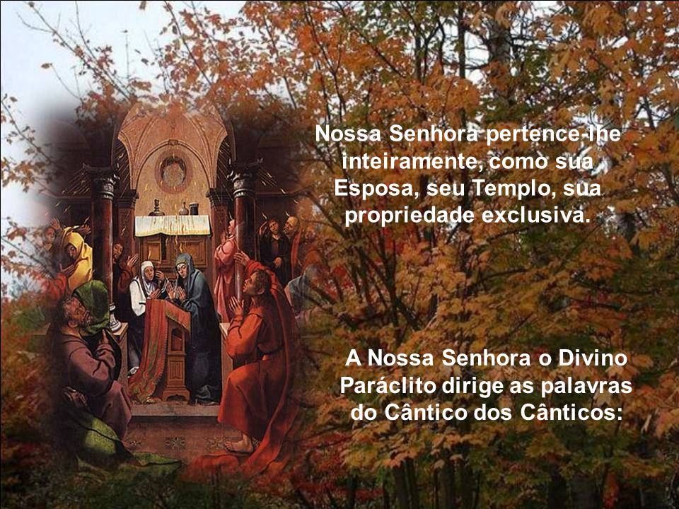 Nossa Senhora pertence-lhe inteiramente, como sua Esposa, seu Templo, sua propriedade exclusiva.