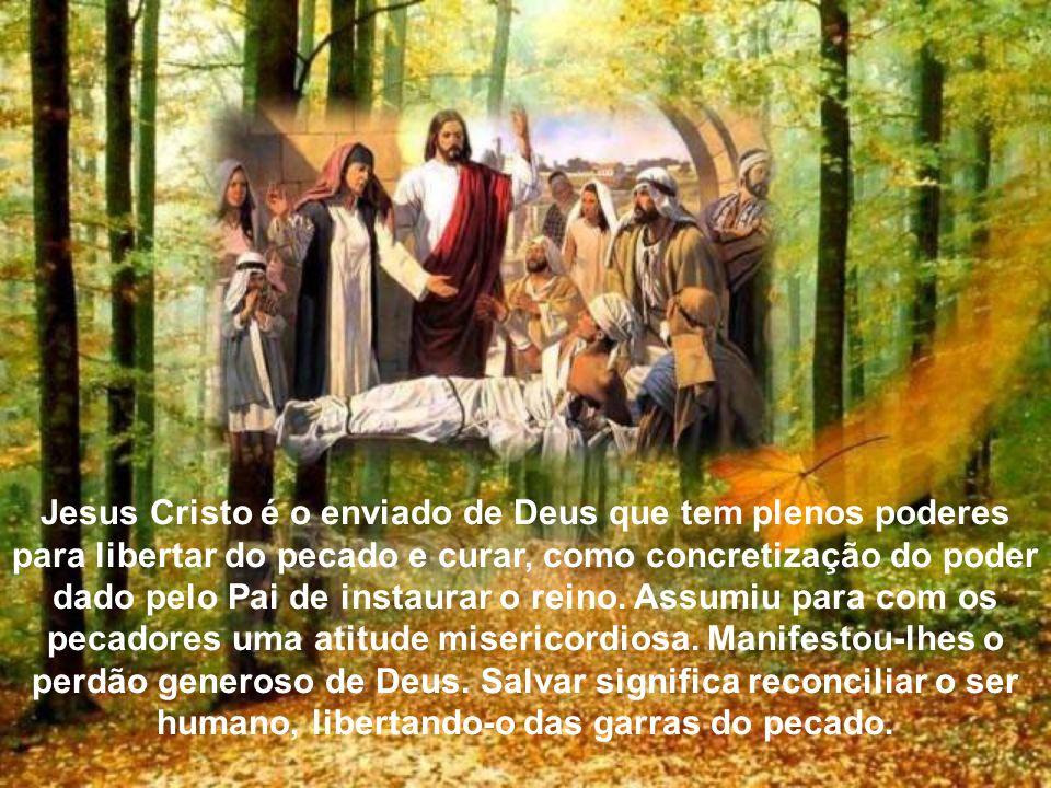 Jesus Cristo é o enviado de Deus que tem plenos poderes para libertar do pecado e curar, como concretização do poder dado pelo Pai de instaurar o reino.