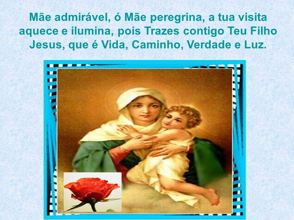Mãe admirável, ó Mãe peregrina, a tua visita aquece e ilumina, pois Trazes contigo Teu Filho Jesus, que é Vida, Caminho, Verdade e Luz.