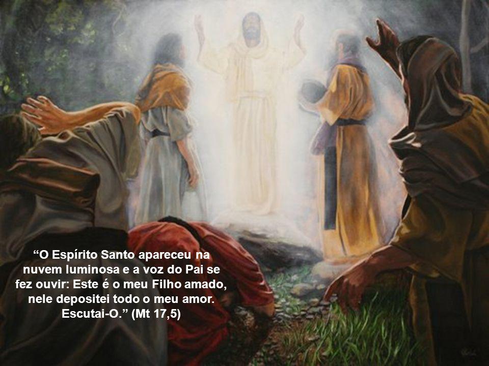 O Espírito Santo apareceu na nuvem luminosa e a voz do Pai se fez ouvir: Este é o meu Filho amado, nele depositei todo o meu amor.
