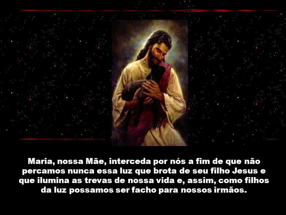 Maria, nossa Mãe, interceda por nós a fim de que não percamos nunca essa luz que brota de seu filho Jesus e que ilumina as trevas de nossa vida e, assim, como filhos da luz possamos ser facho para nossos irmãos.