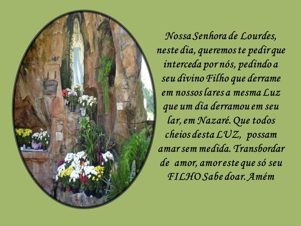 Nossa Senhora de Lourdes, neste dia, queremos te pedir que interceda por nós, pedindo a seu divino Filho que derrame em nossos lares a mesma Luz que um dia derramou em seu lar, em Nazaré.