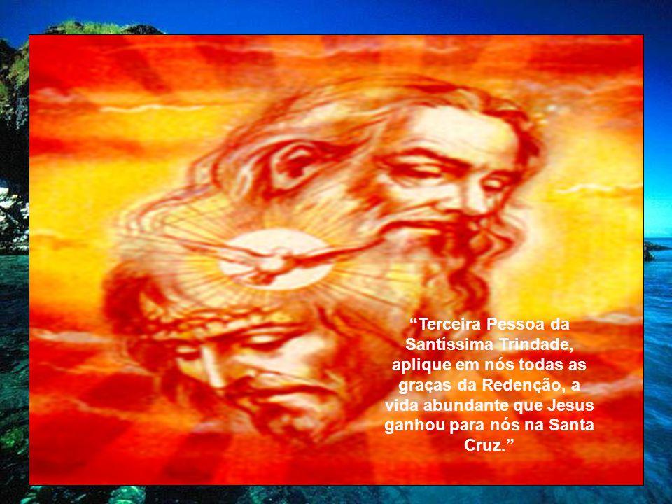 Terceira Pessoa da Santíssima Trindade, aplique em nós todas as graças da Redenção, a vida abundante que Jesus ganhou para nós na Santa Cruz.