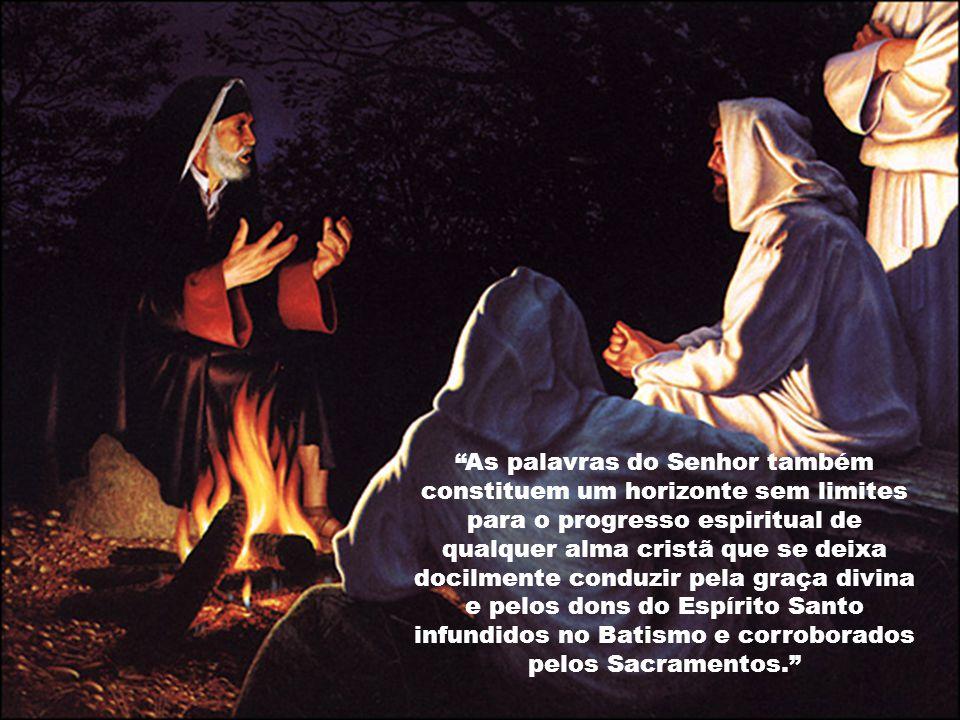 As palavras do Senhor também constituem um horizonte sem limites para o progresso espiritual de qualquer alma cristã que se deixa docilmente conduzir pela graça divina e pelos dons do Espírito Santo infundidos no Batismo e corroborados pelos Sacramentos.