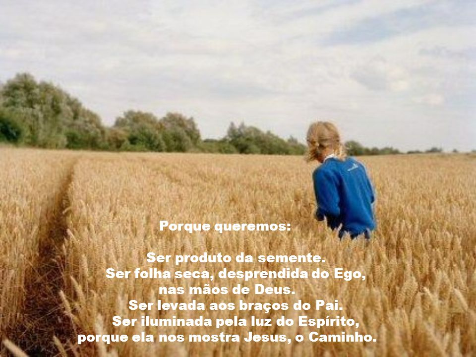 Ser folha seca, desprendida do Ego, nas mãos de Deus.