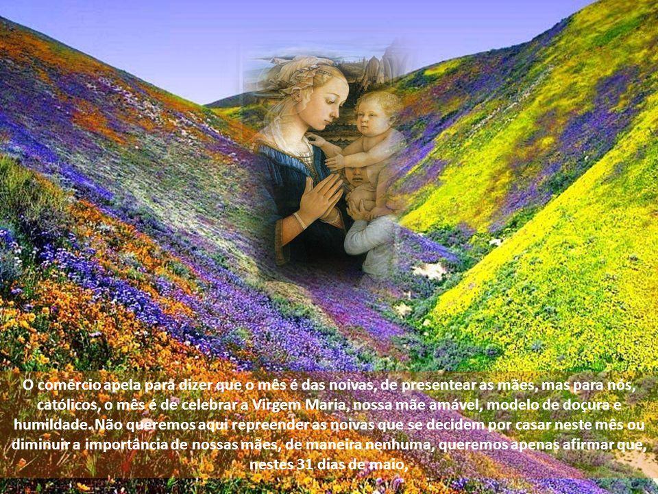 O comércio apela para dizer que o mês é das noivas, de presentear as mães, mas para nós, católicos, o mês é de celebrar a Virgem Maria, nossa mãe amável, modelo de doçura e humildade.