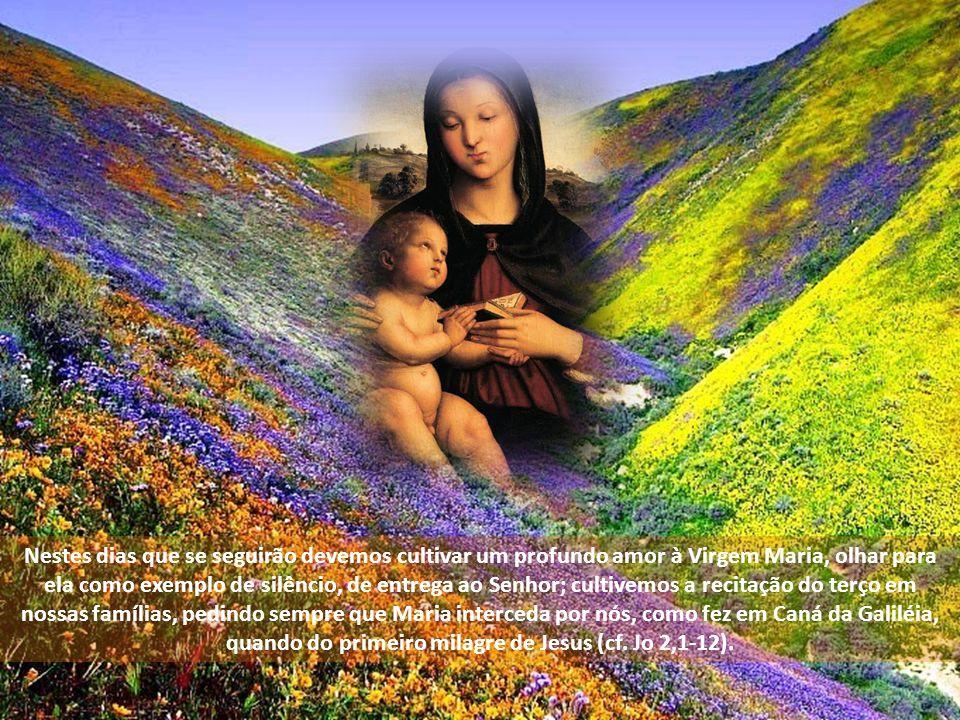 Nestes dias que se seguirão devemos cultivar um profundo amor à Virgem Maria, olhar para ela como exemplo de silêncio, de entrega ao Senhor; cultivemos a recitação do terço em nossas famílias, pedindo sempre que Maria interceda por nós, como fez em Caná da Galiléia, quando do primeiro milagre de Jesus (cf.