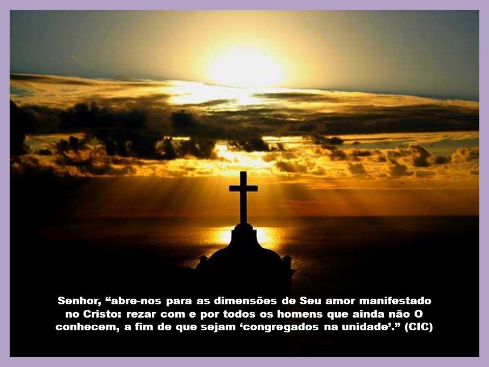 Senhor, abre-nos para as dimensões de Seu amor manifestado no Cristo: rezar com e por todos os homens que ainda não O conhecem, a fim de que sejam 'congregados na unidade'. (CIC)