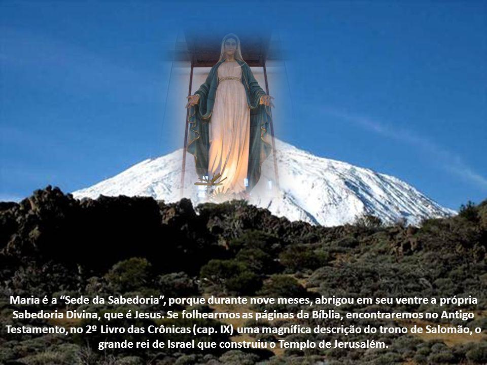 Maria é a Sede da Sabedoria , porque durante nove meses, abrigou em seu ventre a própria Sabedoria Divina, que é Jesus.