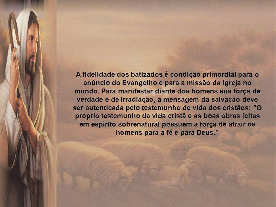 A fidelidade dos batizados é condição primordial para o anúncio do Evangelho e para a missão da Igreja no mundo.