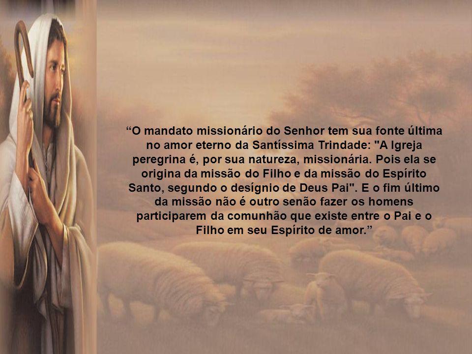 O mandato missionário do Senhor tem sua fonte última no amor eterno da Santíssima Trindade: A Igreja peregrina é, por sua natureza, missionária.