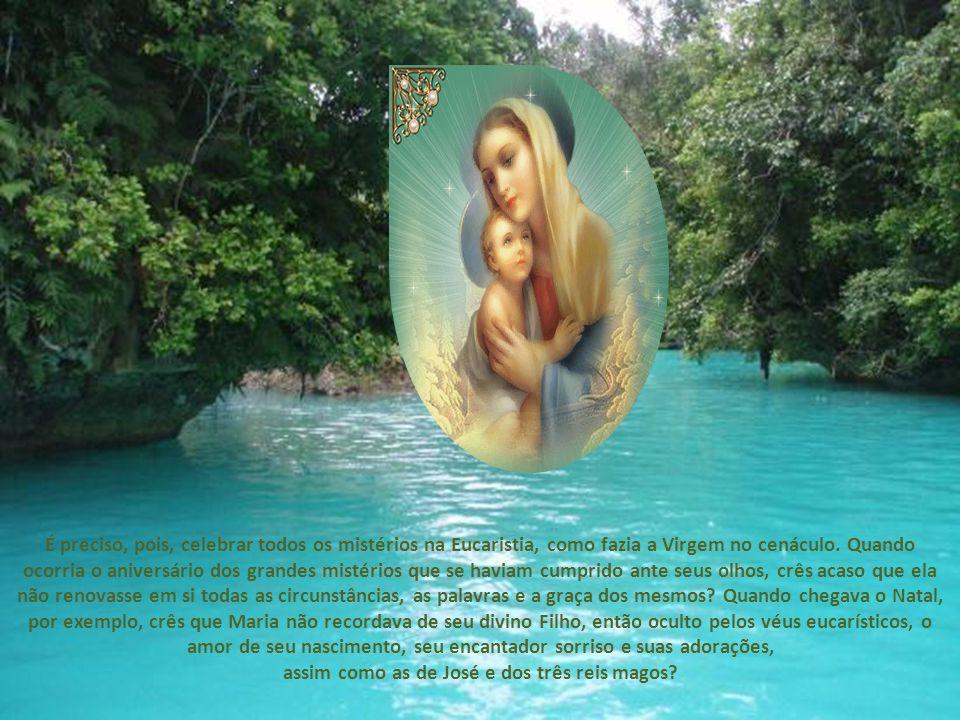 É preciso, pois, celebrar todos os mistérios na Eucaristia, como fazia a Virgem no cenáculo.