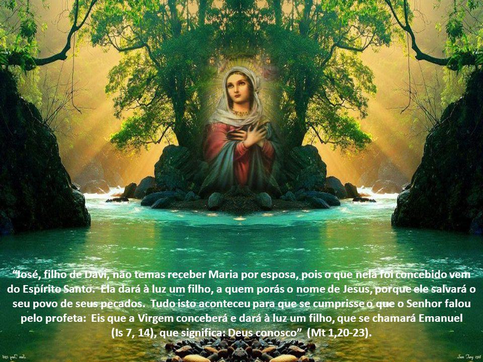 José, filho de Davi, não temas receber Maria por esposa, pois o que nela foi concebido vem do Espírito Santo. Ela dará à luz um filho, a quem porás o nome de Jesus, porque ele salvará o seu povo de seus pecados. Tudo isto aconteceu para que se cumprisse o que o Senhor falou pelo profeta: Eis que a Virgem conceberá e dará à luz um filho, que se chamará Emanuel (Is 7, 14), que significa: Deus conosco (Mt 1,20-23).