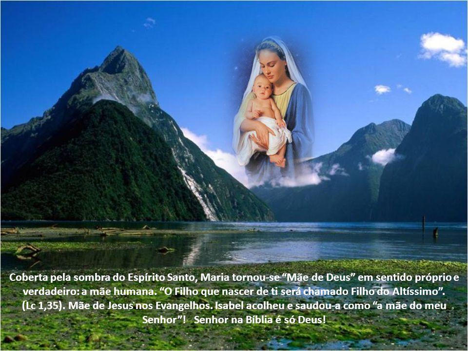 Coberta pela sombra do Espírito Santo, Maria tornou-se Mãe de Deus em sentido próprio e verdadeiro: a mãe humana. O Filho que nascer de ti será chamado Filho do Altíssimo .