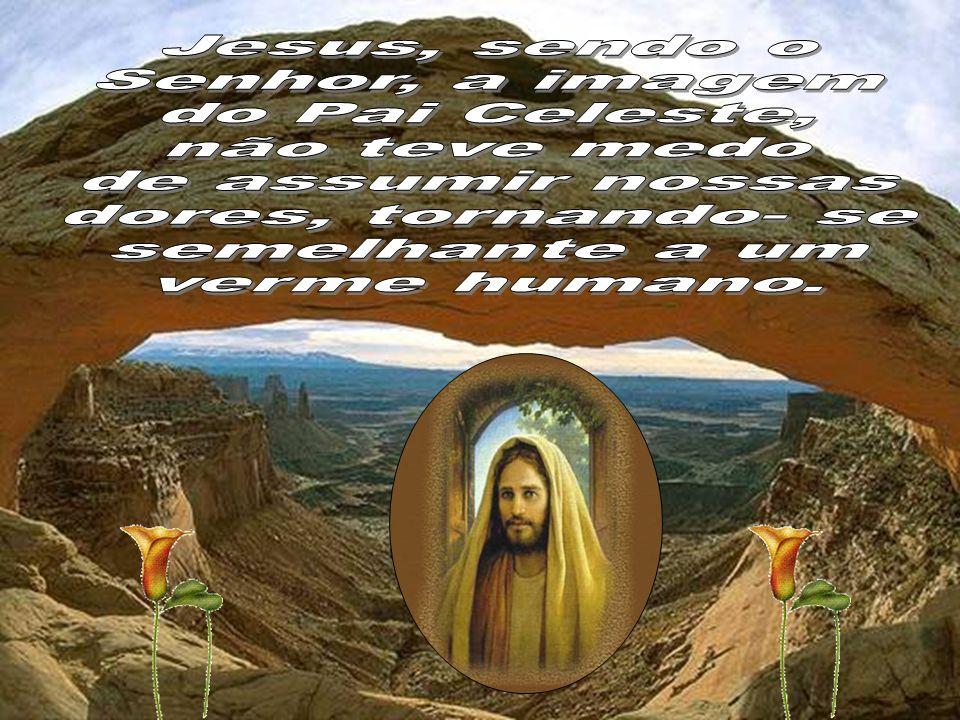 Jesus, sendo o Senhor, a imagem. do Pai Celeste, não teve medo. de assumir nossas. dores, tornando- se.