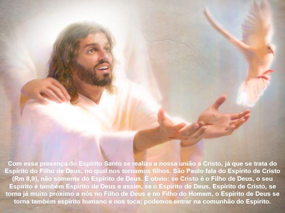 Com essa presença do Espírito Santo se realiza a nossa união a Cristo, já que se trata do Espírito do Filho de Deus, no qual nos tornamos filhos.