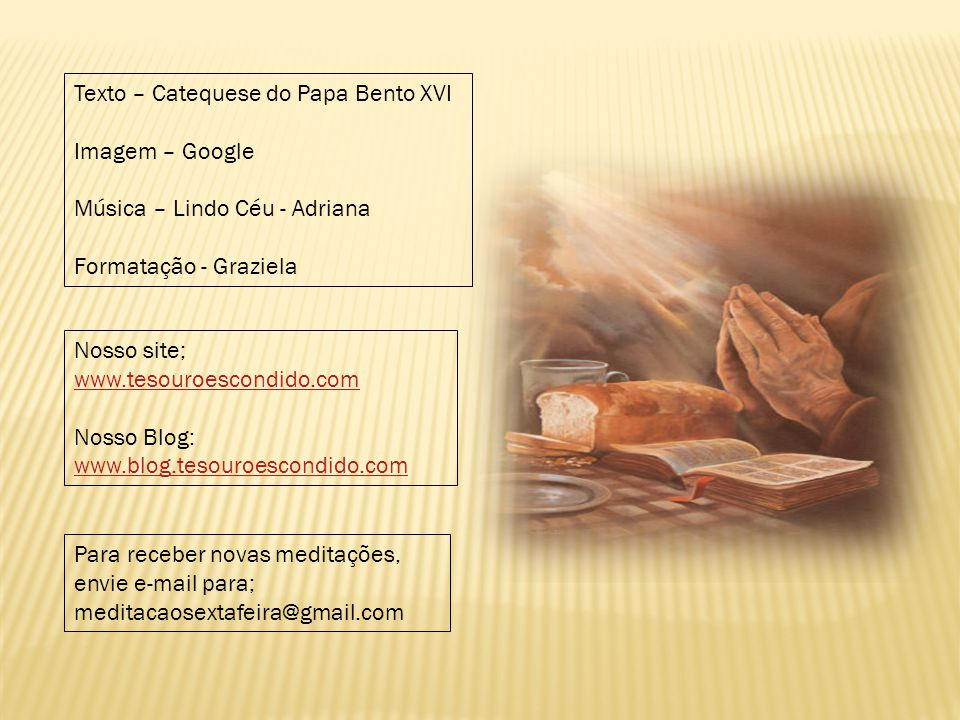 Texto – Catequese do Papa Bento XVI