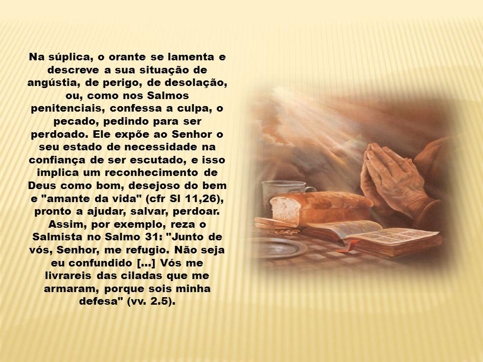 Na súplica, o orante se lamenta e descreve a sua situação de angústia, de perigo, de desolação, ou, como nos Salmos penitenciais, confessa a culpa, o pecado, pedindo para ser perdoado.