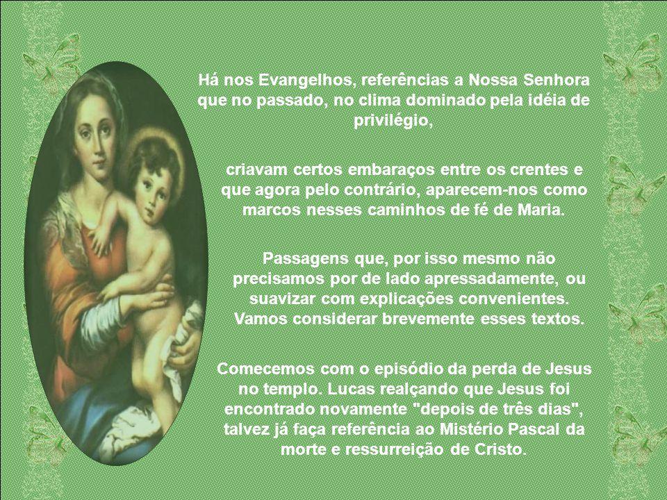 Há nos Evangelhos, referências a Nossa Senhora que no passado, no clima dominado pela idéia de privilégio,