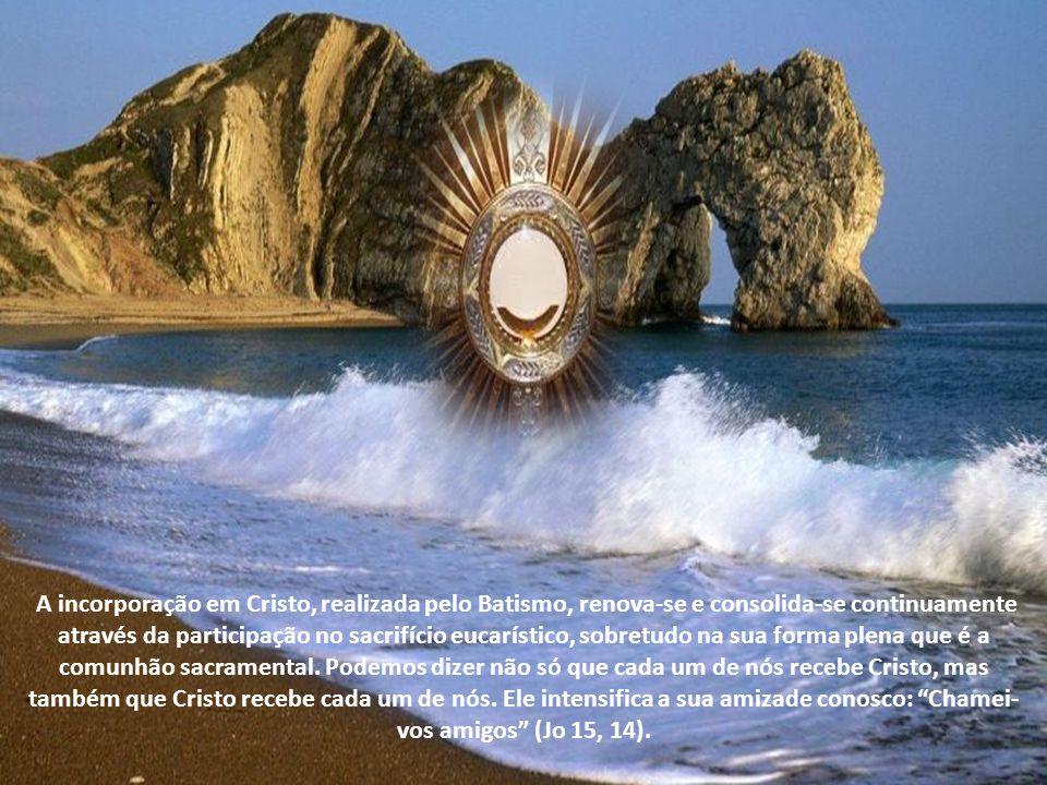 A incorporação em Cristo, realizada pelo Batismo, renova-se e consolida-se continuamente através da participação no sacrifício eucarístico, sobretudo na sua forma plena que é a comunhão sacramental.