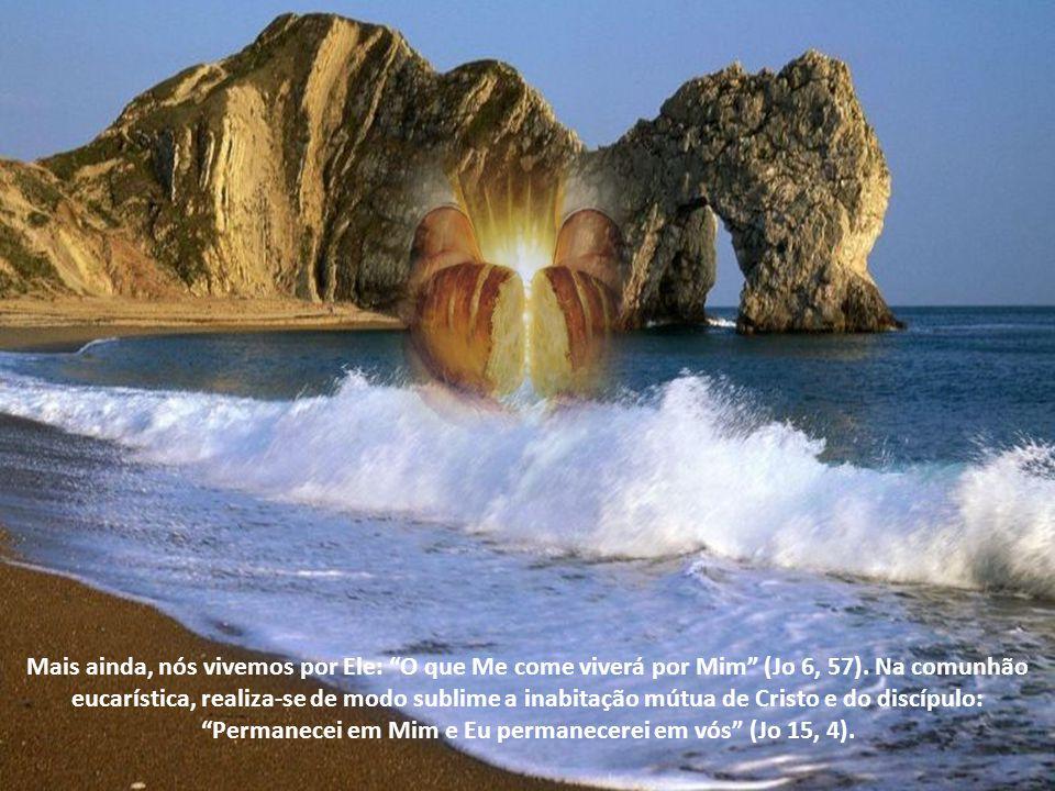 Mais ainda, nós vivemos por Ele: O que Me come viverá por Mim (Jo 6, 57).