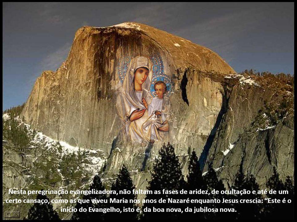 Nesta peregrinação evangelizadora, não faltam as fases de aridez, de ocultação e até de um certo cansaço, como as que viveu Maria nos anos de Nazaré enquanto Jesus crescia: Este é o início do Evangelho, isto é, da boa nova, da jubilosa nova.