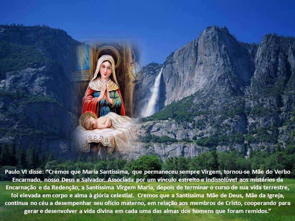 Paulo VI disse: Cremos que Maria Santíssima, que permaneceu sempre Virgem, tornou-se Mãe do Verbo Encarnado, nosso Deus e Salvador.