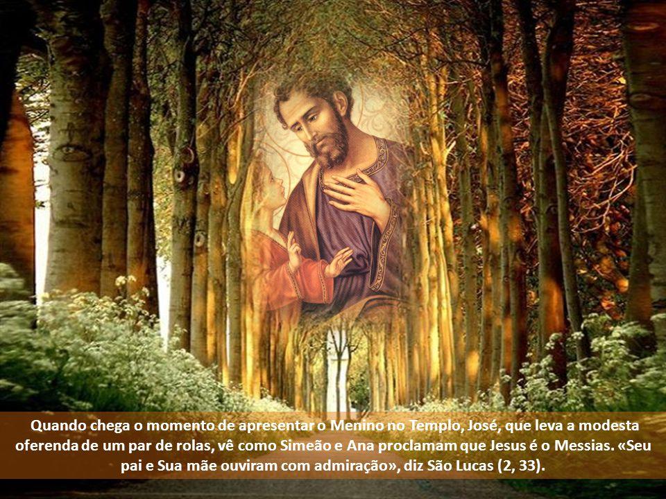 Quando chega o momento de apresentar o Menino no Templo, José, que leva a modesta oferenda de um par de rolas, vê como Simeão e Ana proclamam que Jesus é o Messias.