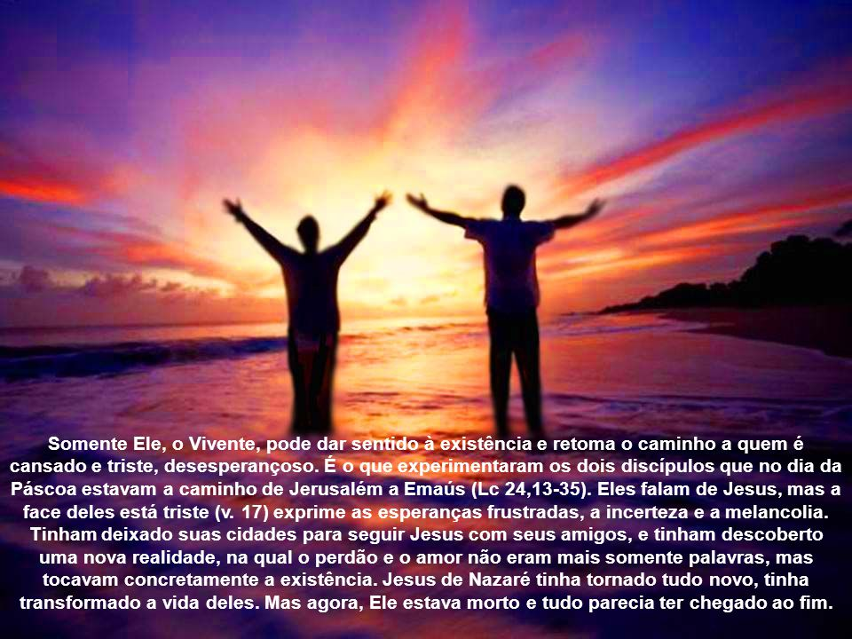 Somente Ele, o Vivente, pode dar sentido à existência e retoma o caminho a quem é cansado e triste, desesperançoso.