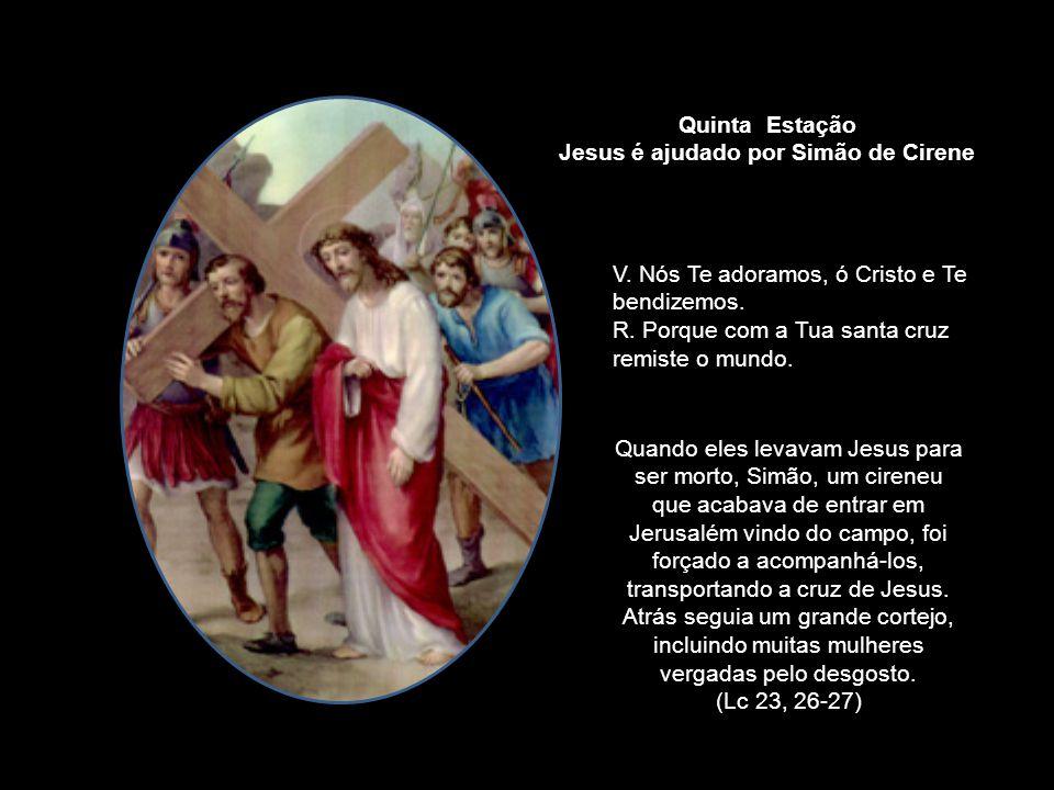 Jesus é ajudado por Simão de Cirene