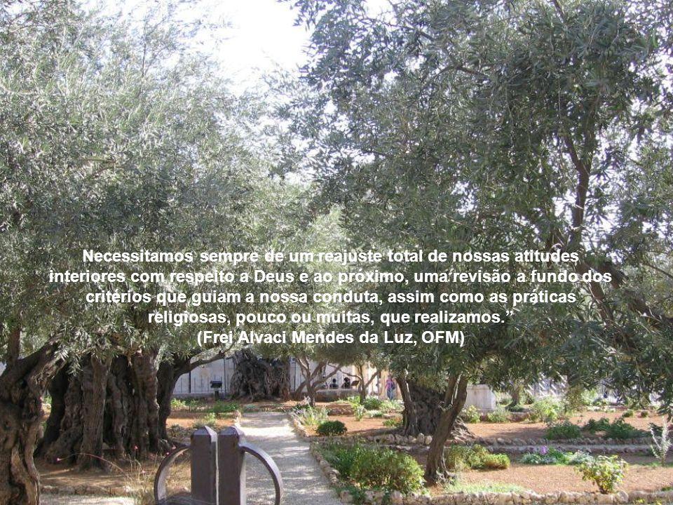 Necessitamos sempre de um reajuste total de nossas atitudes interiores com respeito a Deus e ao próximo, uma revisão a fundo dos critérios que guiam a nossa conduta, assim como as práticas religiosas, pouco ou muitas, que realizamos. (Frei Alvaci Mendes da Luz, OFM)