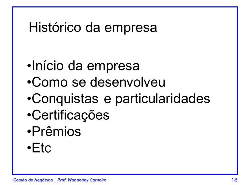 Histórico da empresa Início da empresa. Como se desenvolveu. Conquistas e particularidades. Certificações.