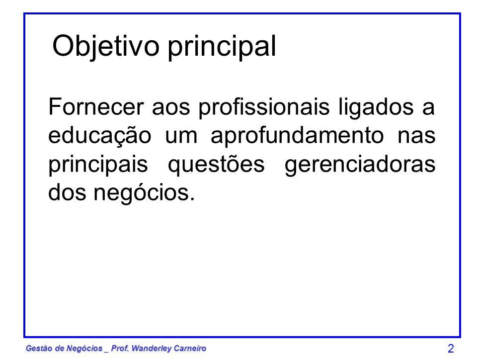 Objetivo principal Fornecer aos profissionais ligados a educação um aprofundamento nas principais questões gerenciadoras dos negócios.