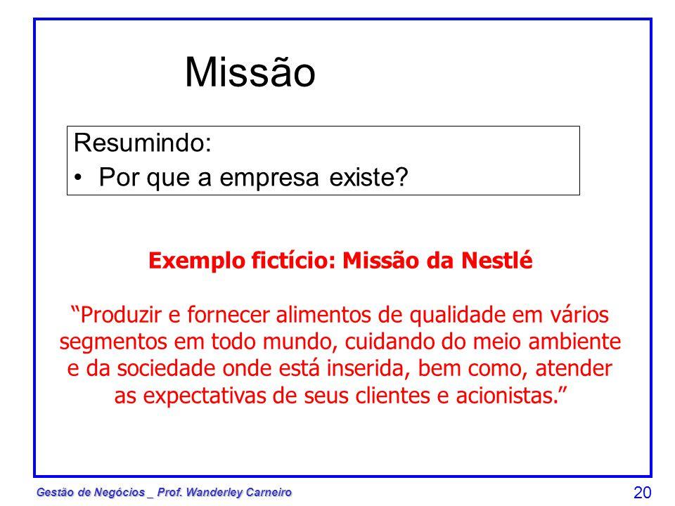 Exemplo fictício: Missão da Nestlé