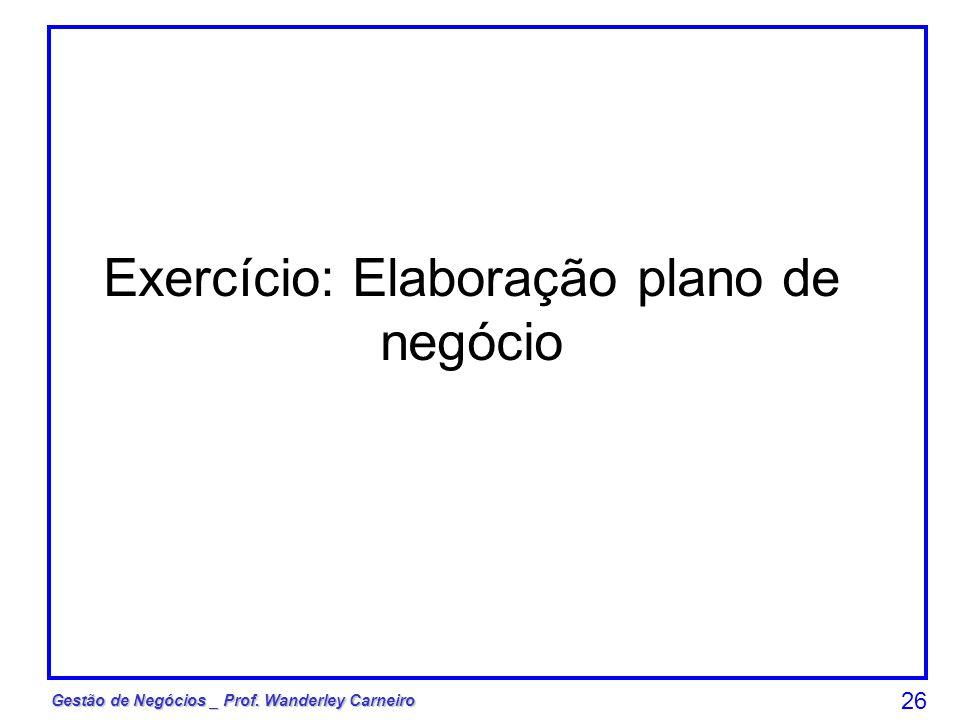 Exercício: Elaboração plano de negócio