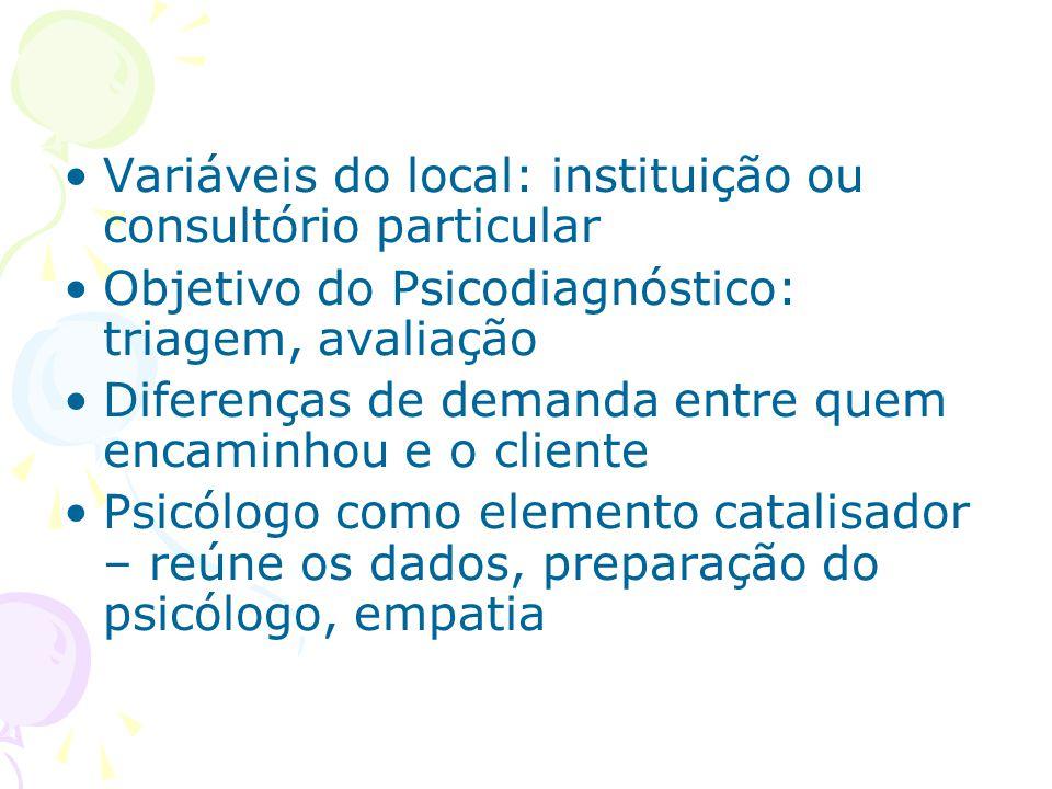 Variáveis do local: instituição ou consultório particular