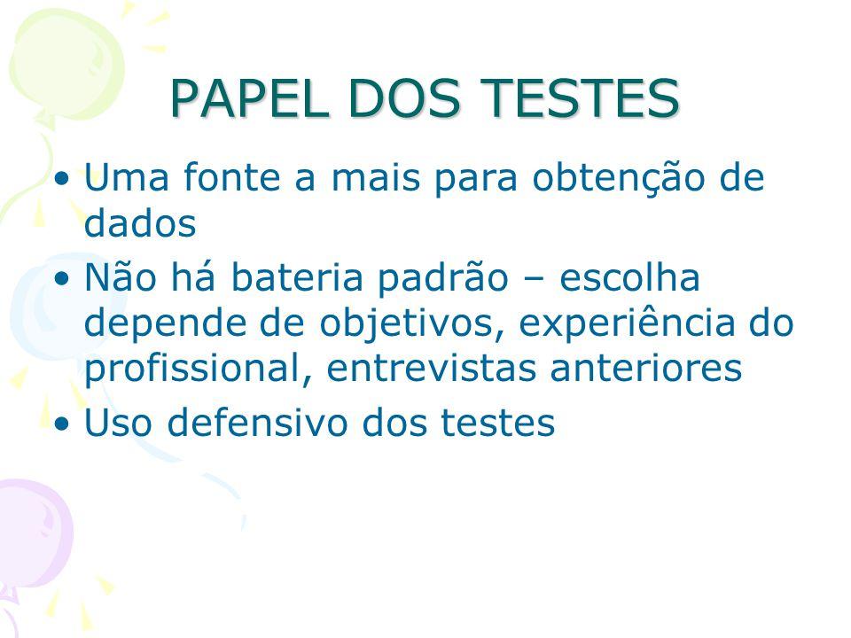 PAPEL DOS TESTES Uma fonte a mais para obtenção de dados