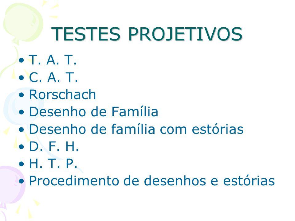 TESTES PROJETIVOS T. A. T. C. A. T. Rorschach Desenho de Família