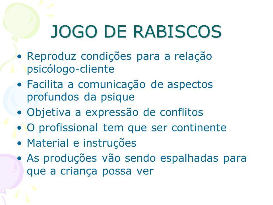 JOGO DE RABISCOS Reproduz condições para a relação psicólogo-cliente