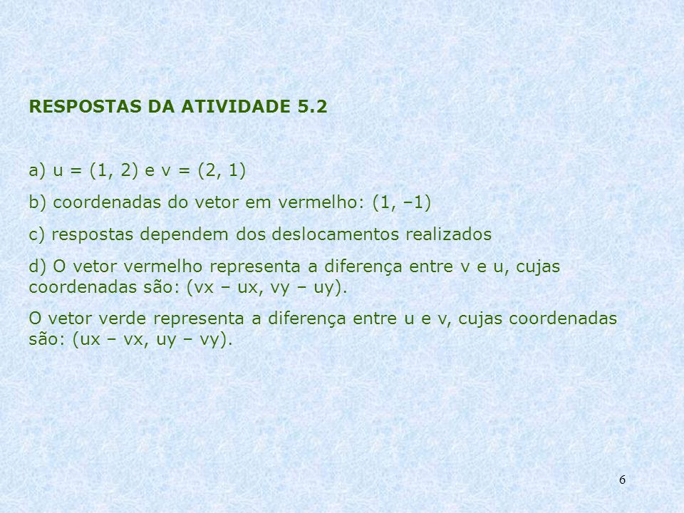 RESPOSTAS DA ATIVIDADE 5.2