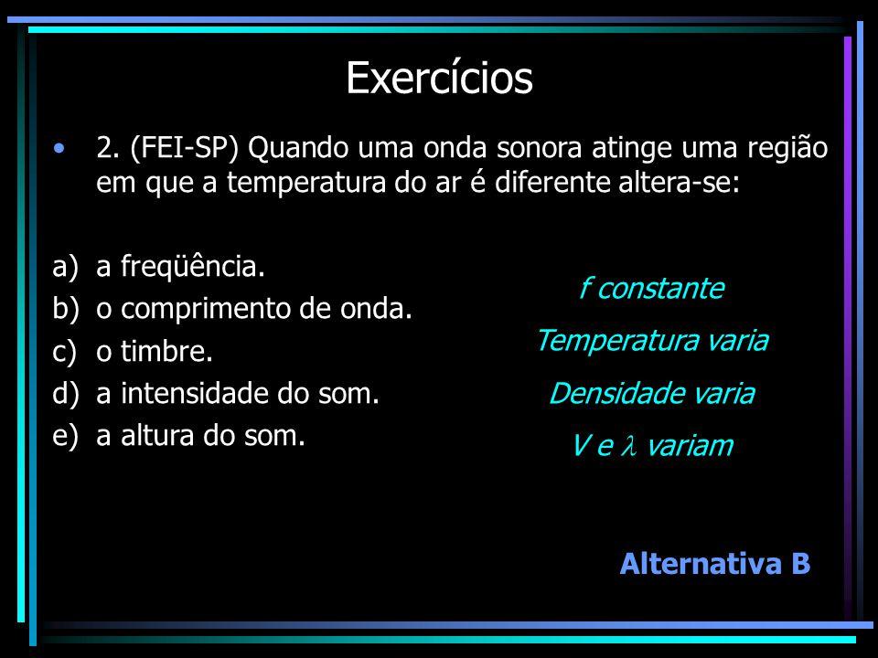 Exercícios 2. (FEI-SP) Quando uma onda sonora atinge uma região em que a temperatura do ar é diferente altera-se: