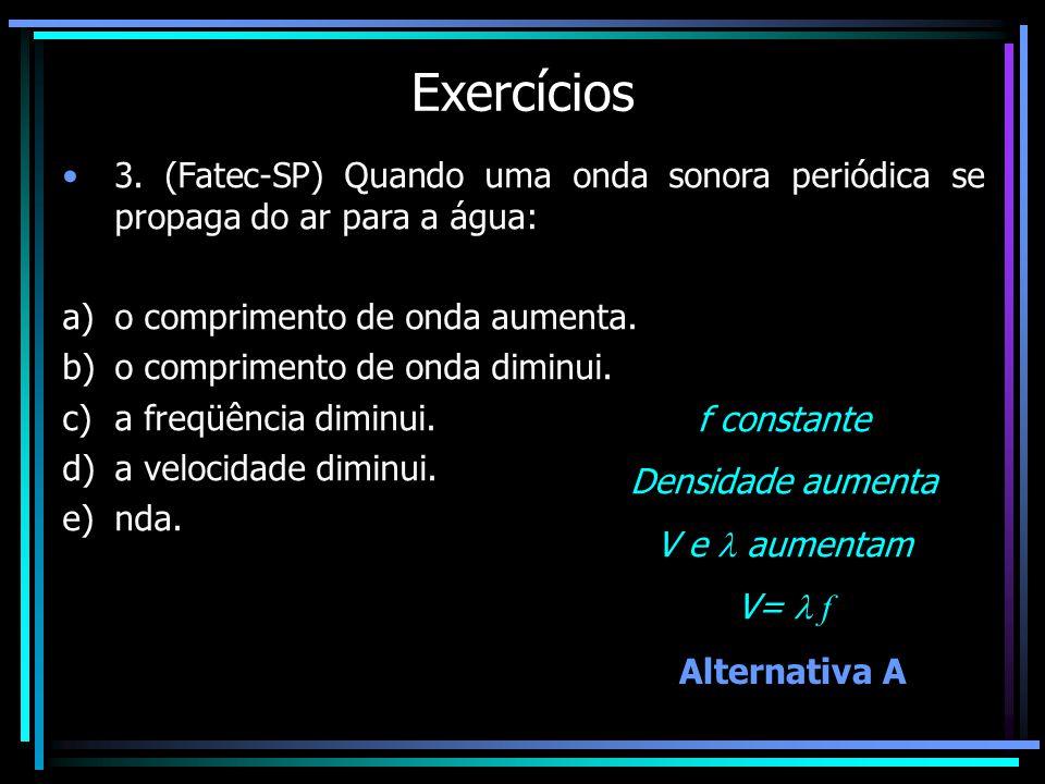 Exercícios 3. (Fatec-SP) Quando uma onda sonora periódica se propaga do ar para a água: o comprimento de onda aumenta.