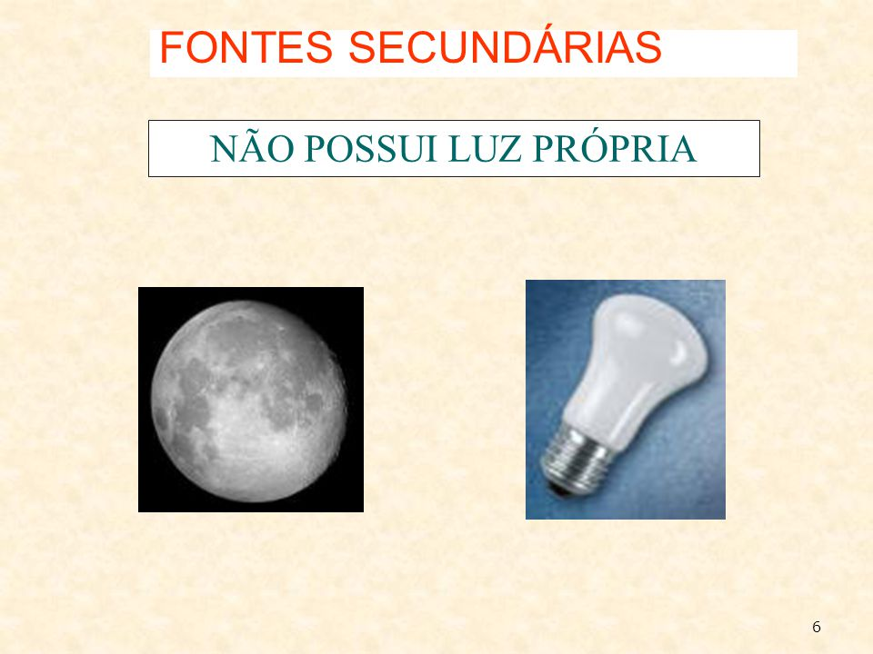FONTES SECUNDÁRIAS NÃO POSSUI LUZ PRÓPRIA