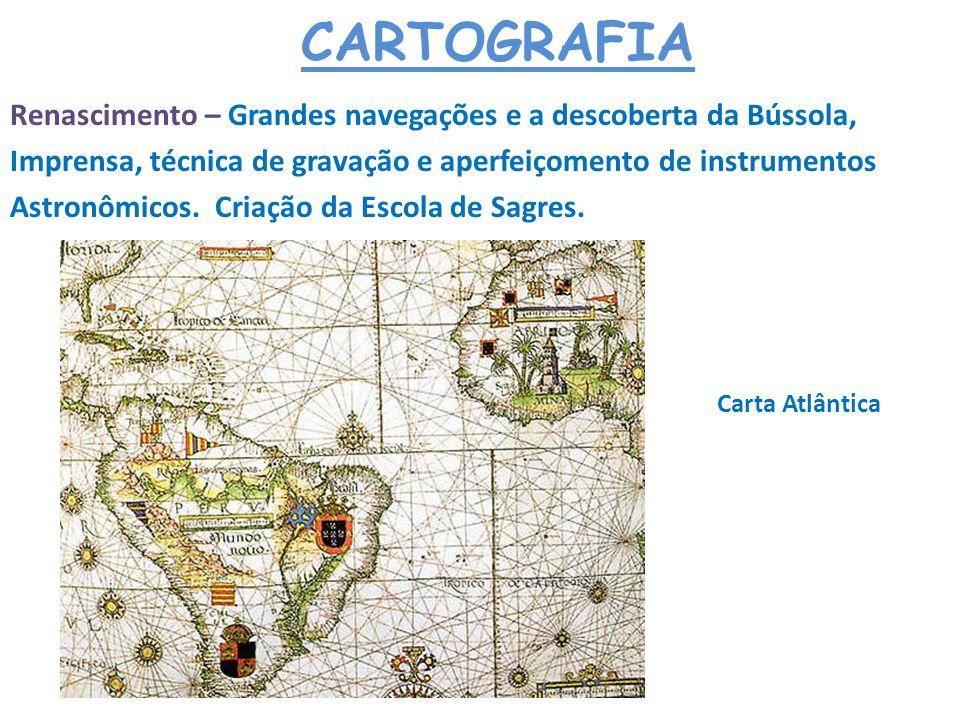 CARTOGRAFIA Renascimento – Grandes navegações e a descoberta da Bússola, Imprensa, técnica de gravação e aperfeiçomento de instrumentos.