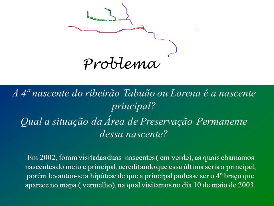 Problema A 4ª nascente do ribeirão Tabuão ou Lorena é a nascente principal Qual a situação da Área de Preservação Permanente dessa nascente