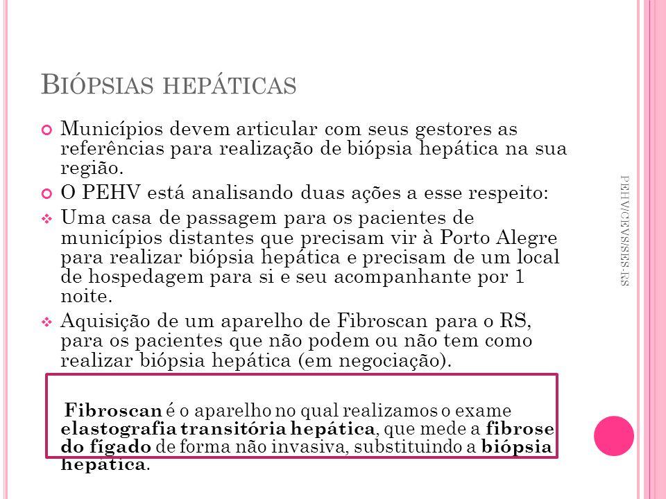 Biópsias hepáticas Municípios devem articular com seus gestores as referências para realização de biópsia hepática na sua região.