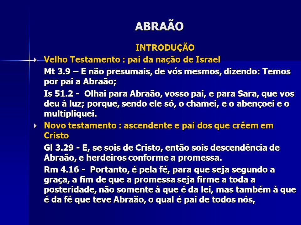 ABRAÃO INTRODUÇÃO Velho Testamento : pai da nação de Israel