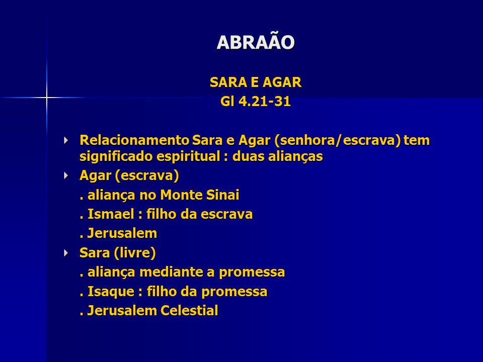 ABRAÃO SARA E AGAR. Gl 4.21-31. Relacionamento Sara e Agar (senhora/escrava) tem significado espiritual : duas alianças.