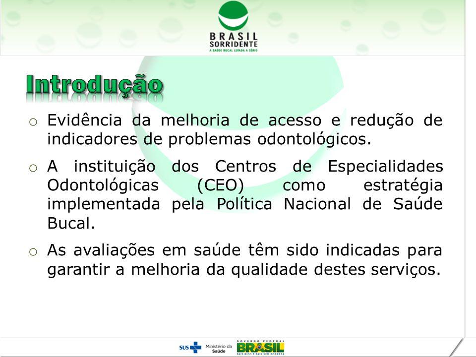 Introdução Evidência da melhoria de acesso e redução de indicadores de problemas odontológicos.